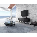 Contemporary Venue TV stand from BDI in charcoal stained ash in a setting